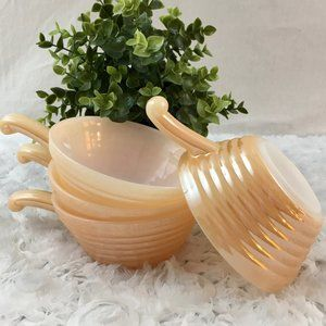 Fire King   4 Peach Luster Bee Hive Bowls